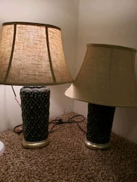 Lamps set of 2. Uttermost. Beautiful.  Both work. Needs harps .