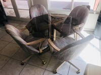 """MAKE AN OFFER... Dining Glass Table + (4) Reclining/Wheeled/Swivel Chairs (Table Height 28.5"""" / Width 40"""") Fountain Hills, 85268"""