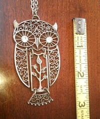 vintage jewelry owl necklace with pendant