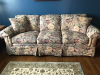 Blue and pink floral 3-seat sofa FREDERICK