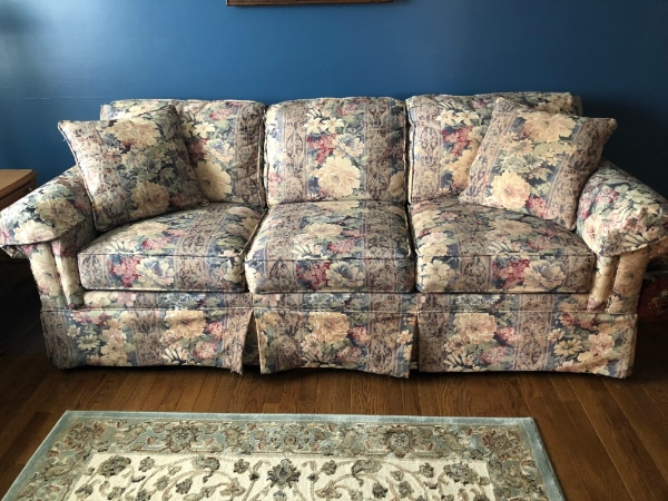 Blue and pink floral 3-seat sofa