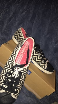 white-and-black tribal print Keds low-top sneakers with brown box