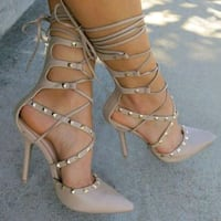 BRAND NEW Taupe strappy high heels. Zipper up the back Size 7 1/2 Greenville, 29609