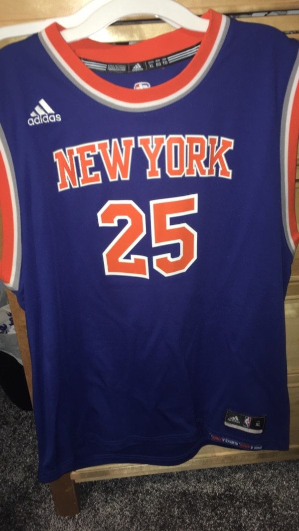 12b26bd46ad7 Used blue and orange New York 25 basketball jersey for sale in Brookhaven