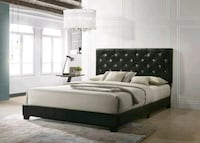 Diamond Tufted Black Faux Leather Queen Bed | HH20 Missouri City, 77489