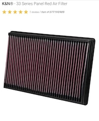 Black k&n 33 series panel air filter..pre-owned..excellent condition $30 obo..fits rams ford chevy trucks