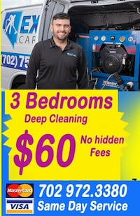 3 Bedrooms deep cleaning Same Day Service
