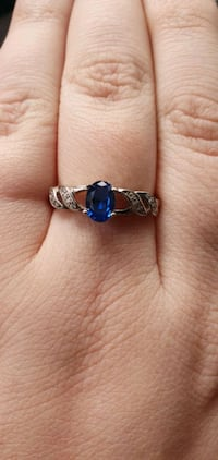 Sapphire Blue Crystal Sterling Silver Ring Kitchener