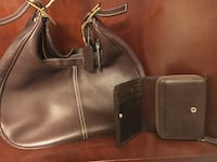 Brown leather coach hobo bag with wallet