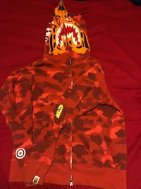 red and white camouflage zip-up hoodie Detroit, 48228