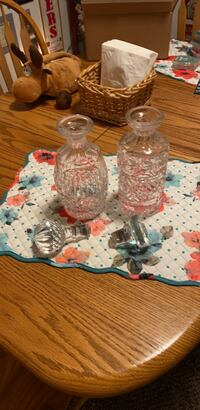 2 crystal very heavy decanters /with lids