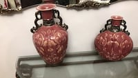 brown wooden framed red floral ceramic vase Cambridge, N1R 8A2