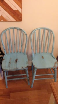 Two blue wooden windsor chairs White Rock, V4B 3W5