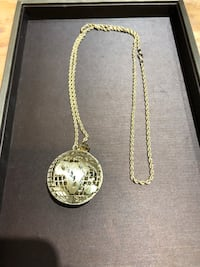 10k rope chain with 3D globe pendant