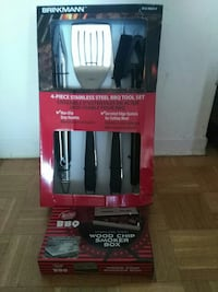 4 piece stainless steel Brinkmann BBQ tool set with red box