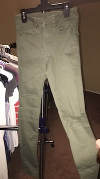 h&m size 6 ripped jeans olive