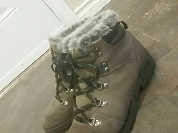 pair of gray suede work boots