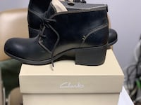Clarks Women's Maypearl Flora Ankle Boot, Black Leather,Size US9M, or 40EUR TORONTO