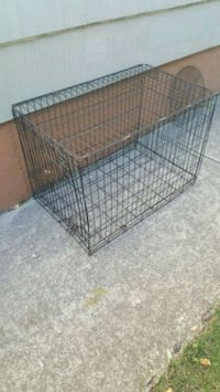 Used dog cage kennel no tray as is black metal folding Posen, 60469