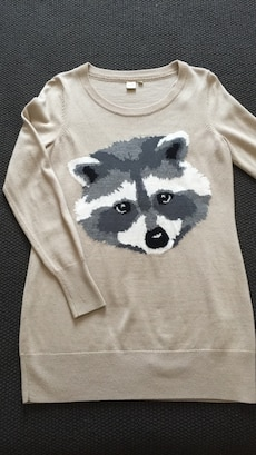 fox printed brown sweater