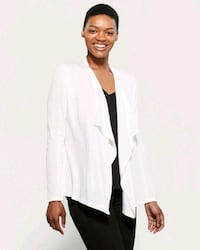 White cardigan with open front and crisscross bac  Dallas