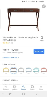 Weston Home 2 Drawer Writing Desk Brand New Retails $229 48 km