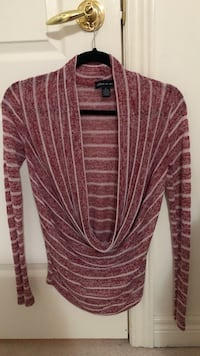 women's pink and white cowl long-sleeved shirt