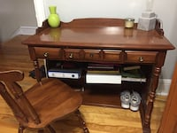 brown wooden desk with chair set
