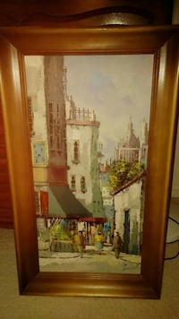 wooden framed painting on canvas. #1 Henderson, 89002