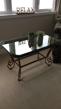 Black metal frame glass top table King City