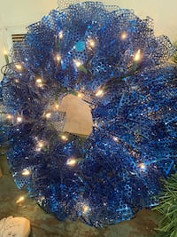Handcrafted blue wreath with lights Great Falls, 59405
