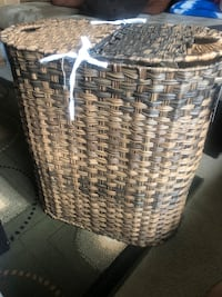 Seville Classics Handwoven Oval Double Laundry Hamper