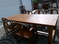 rectangular brown wooden table with six chairs din 2332 mi