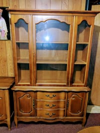 WOODEN CHINA CABINET AND BUFFET TABLE