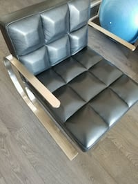 Contemporary Leather Chair Stainless Steel Frame