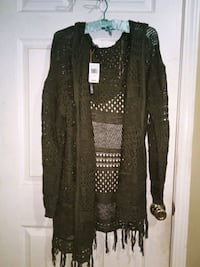 Plus size hooded cardigan.