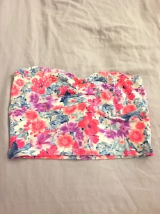 red and white floral tube crop top