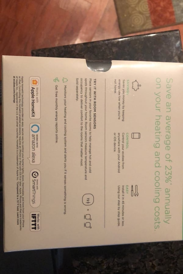 Ecobee 3 lite Smart Thermostat (Unopened) 64106efc-620a-4a67-9df8-7d3770f5cec3