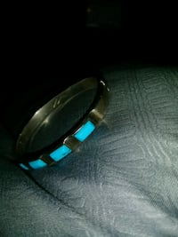sterling silver 925 and real turquoise snap bracelet
