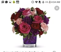 red rose flowers with good morning text overlay Houston, 77062