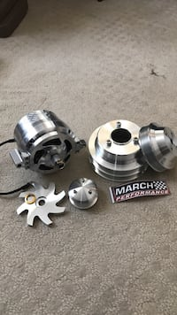 Billet aluminum march performance parts 140 amp alternator serpentine pulley for a big block chevy.  Parts are brand new Sharon