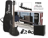 "Epiphone Bass Guitar Epiphone ""Tobias"" + 10W Amp, guitar picks, tuner, bag and cable. Black color, great sound, amazing for beginners and pros alike null"