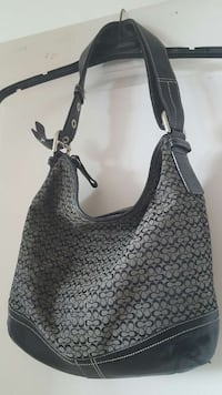 Genuine Coach black/grey hobo purse with leather