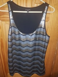 silver and blue chevron sequined tank top