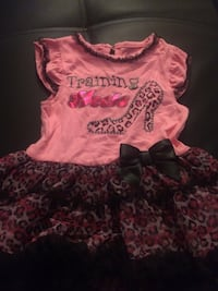 toddler's blue, yellow , pink and red flower print mini-dress