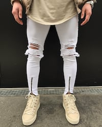 WHITE JEANS SLIM HOLE STRETCH WITH ZIP SWEATPANTS