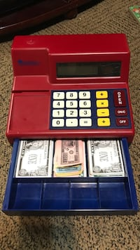 Red and blue cash register toy Watertown, 13603