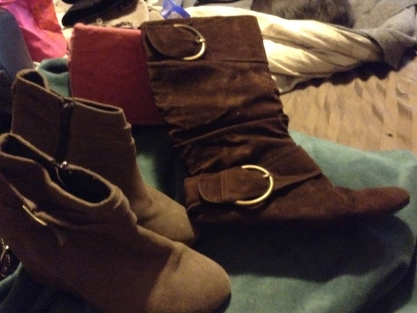 2pair of suede boots $25