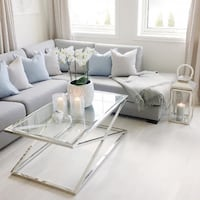 New Stainless Steel Chrome Glass Table Toronto