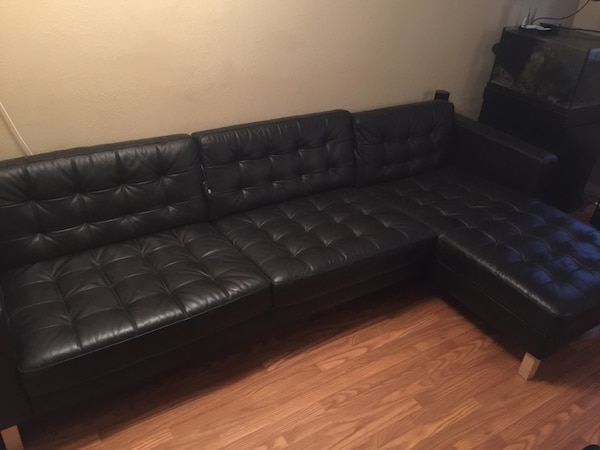 IKEA LANDSKRONA black leather sofa sectional